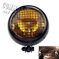 Motorcycle Amber Lens Retro Headlight Lamp For Harley Chopper Cafe Racer Cruiser