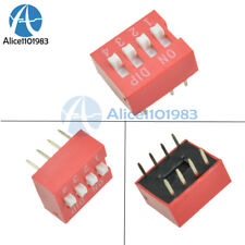 10Pcs Slide Type Switch Module 2.54mm 4-Bit 4 Position Way DIP Red Pitch