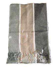 Women Summer Linen Stripy Beige & Grey Shawl Scarf Stole Wrap