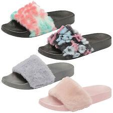 Womens Slip On Faux Fur Pool Sliders Ladies Flat Slipper Mule Rihanna Sandals
