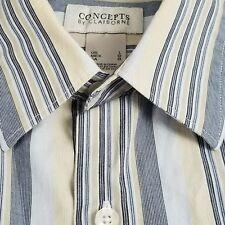 Claiborne Concepts Mens Luxury Striped Dress Casual Shirt Collar Blue Sz Large