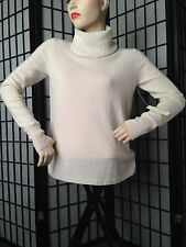 NWT White and Warren 100% Cashmere Hi Low Turtleneck XS Snowflake