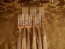 1881 Rogers Oneida Ltd silverplate Janet 6 luncheon grille forks  EXCELLENT