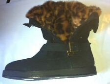 NEW GUESS FAUX SUEDE FUR BOOTS UK SIZE 4 BLACK ANKLE  AUTHENTIC