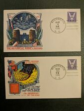 TWO 1945 PATRIOTIC WWII FLUEGEL MAIL COVER US MILITARY CROSSING THE RHINE CACHET