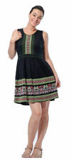 Regular Size Linen Dresses for Women with Embroidered