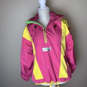 VTG Obermeyer Ski Jacket Women's Size 8 Medium Neon Gore Tex Anorak Hooded 80s