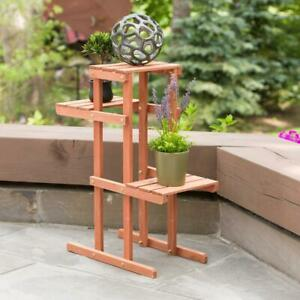 Leisure Season Plant Stand Multi-Dimensional Stained Medium Brown Wood 3-Tier