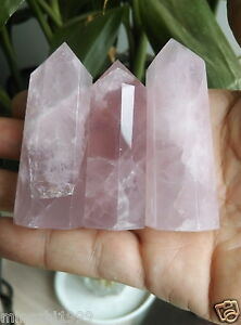 3PCS 100% Natural rock ROSE quartz crystal point healing NEW hot sell 5-7CM