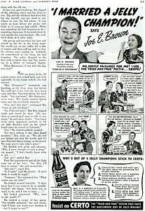1939 Print Ad of Certo Pectin Jam & Jelly w Joe E Brown