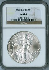 2002 AMERICAN EAGLE 1 oz SILVER Coin NGC MS69 MS 69 BROWN GOLD LABEL