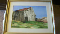 RUSTIC RURAL AMERICAN BARN WATERCOLOR BY C. BUCHHOTZ HAND SIGNED