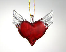 hanging small glass heart ornament crystal blown glass art handmade with love