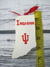 Indiana University IU Decorative Wooden Tree Ornament Hand Carved Painted