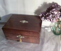 Large Antique Victorian Box-Rosewood & Abalone Shell-Working Key-Circa 1850