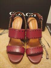Coach Womens Rylie Heel Wine Leather Sandal Size 9 (NIB)