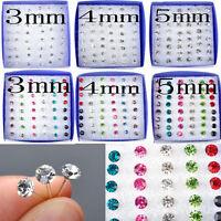 40x Lotes Dimand Rhinestone Crystal Pendientes Stud Plástico Evitar Alergia Pin
