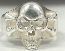 STERLING SILVER Skull Crossbone Ring 925 NO RESERVE Biker Sz 9/ Gothic Pirate