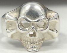 STERLING SILVER Skull Crossbone Ring 925 NO RESERVE Biker Sz 10 Gothic Pirate