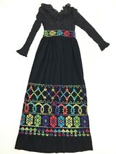 Vtg Mod Black Bohemian Festival Dress Bell Maxi Colorful Small Sandine Originals