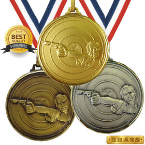 PISTOL SHOOTING BRASS MEDAL 52mm BEST QUALITY, FREE RIBBON, 3 COLOURS,