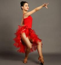 Red Womens Latin Tango Ballroom Dance Skirt Rumba Cha cha Samba dress Chic