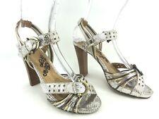NAUGHTY MONKEY Metallic Strappy Heels w/Ankle Strap -  US Womens 6.5