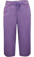 Linen Evans Loose Fit Capri, Cropped Trousers for Women