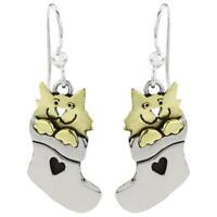 Far Fetched STOCKING CAT EARRINGS Silver Mima & Oly Christmas + Wrapped Box