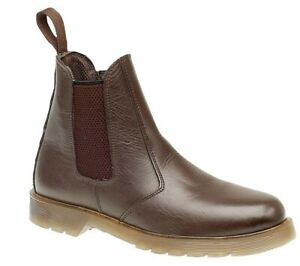 Mens Waxy Brown Leather Chelsea Slip On Dealer Chelsea Ankle Boots Size 12