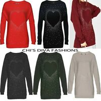 BON PRIX Beautiful Diamante Rhinestone Heart Jumper Sizes UK 8-26