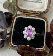 2 CT Oval Cut Pink Sapphire Cluster Wedding Engagement Ring 14K White Gold Over