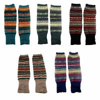 Womens Leg Warmers Fair Isle Deer Print Multi Color Knee High Knit Warmer Socks