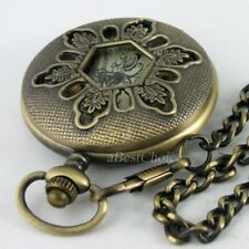 Antique Steampunk Windup Skeleton Mechanical Pocket Watch Chain Retro Bronze