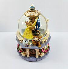 Disney BEAUTY AND THE BEAST Music Box Snow Globe Rare Retired Rose Garden 1991