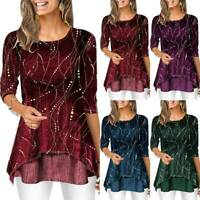Women's Autumn Casual Loose T-Shirt Long Sleeve Blouse Tee Tunic Plus Size Tops