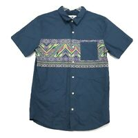 On the Byas Southwest Print Shirt Mens Size M Medium Green Blue Short Sleeve