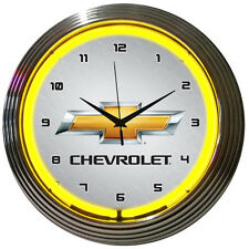 GM Chevrolet Yellow Neon Clock 8CHVYY w/ FREE Shipping