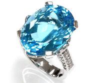 18 ct tw Natural Blue Topaz & Diamond 14k White Gold Big Stone Cocktail Ring
