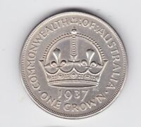 1937 Sterling Silver Crown Coin Australia King George V1 near UNC P-876