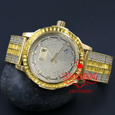 Canary Gold Tone Real Diamond Dial Custom Band Watch W/Date Solid Steel Bezel