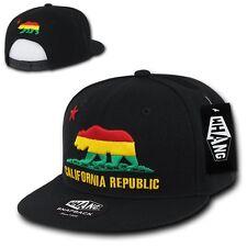 Black California Republic Red / Yellow / Green Rasta Bear Snapback Snap Cap Hat