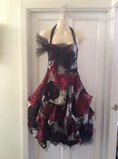 KELLY EWING Stunning Netted Large Rose Print Asymmetrical Hem Line Dress. SIZE 8