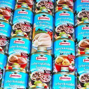 12 Muenchner Weisswuerste 750g Leberknoedel Spaetzle Speckknoedel Suppe.6x400ml