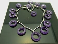 Vintage Amethyst Faceted Round Graduated Open Ring Shape 15 Gemstone Beads