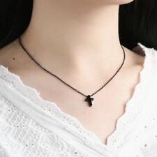 Small Necklace Children Boy Girl Gift Simple Black Stainless Steel Cross Pendant