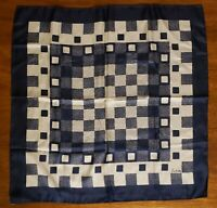 """VTG Navy/White Checkered Scarf by Echo Chinon/Silk Blend Made in Japan 22""""x22"""""""