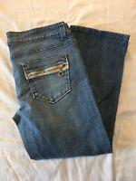 DKNY Women's Straight Leg Low Rise Zipper Fly Denim Blue Jeans Capri Size 13