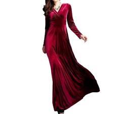Women V Neck Prom Dress Long Sleeve Velvet Formal Party Evening Maxi Dresses Hot