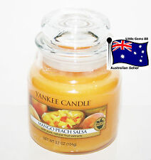 YANKEE CANDLE SMALL JAR CANDLE * Mango Peach Salsa * GLASS 3.7oz SCENTED CANDLE